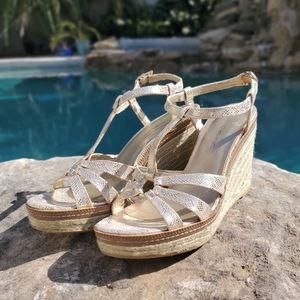 Bandolino Kahari Gold Wedge Sandals